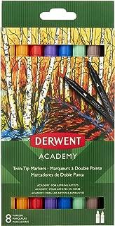 Derwent Academy Twin-Tip Markers, Brush/Fine Tip, 8 Pack (98206)