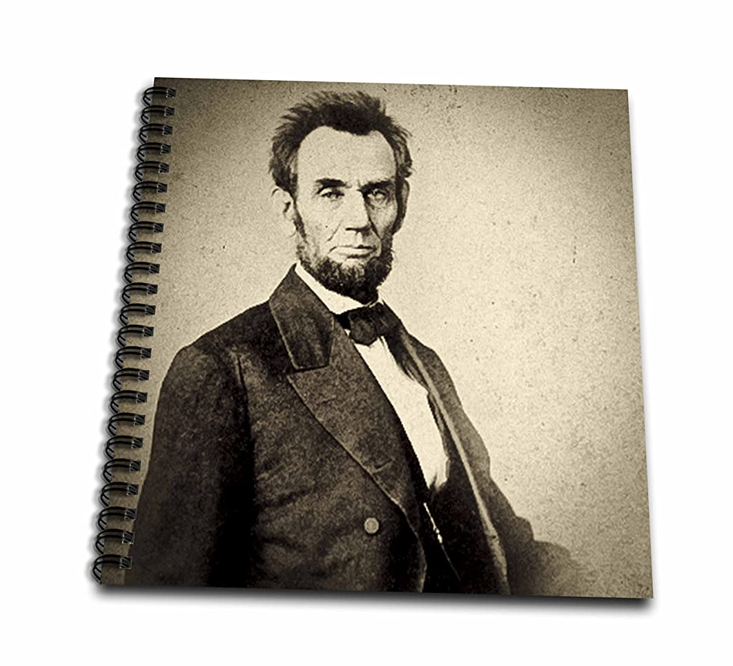 3dRose db_77398_1 Abraham Lincoln Stereoview Card Sepia-Drawing Book, 8 by 8-Inch