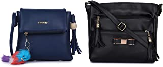 GLOSSY PU Sling Bag with keychain and Sling Bag with 5 Zip compartments - Combo Blue and Black