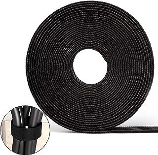 Cinta de Gancho y Bucle Sujeta Cables FEIGO Atadura de Cables con Cinta de Velcro 10M de Doble Cara autoadhesiva Cable de conexión de Manguera de Cable de sujeción de Velcro (Organizador de Cables)