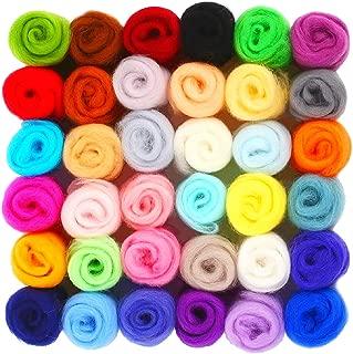 SOLEDI lana de fieltro, lanas de colores,Set de lana de fieltro agujado, ovillo de hilo de lana para hilar, hilado a mano,fieltrohúmedo( 36 colores)