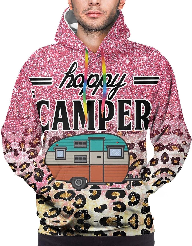 Hoodie For Mens Womens Teens Happy Camper Pink Glitter Leopard Print Hoodies Pullover Sweatshirt Pockets