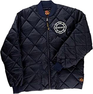 GAME Chicago Fire Department Quilted Jacket W/Embroidered Maltese White Logo As Seen on TV-1221-J