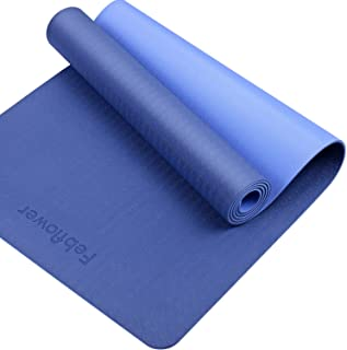 """Febflower TPE Yoga Mat, 1/4 inch Thick,Non Slip Pro Yoga Mats with Carrying Strap, Eco Friendly,72"""" x 24"""""""