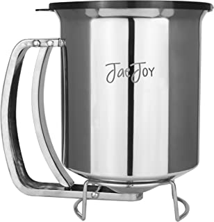 Newest Improved Pancake Batter Dispenser with Lid-Stainless Steel-Professional Kitchen Tool-Great for Baking,Cupcakes,Muffins-Cooking Crepes,Waffles- Easyflow Spout -Measuring Gauge in Mls and cups.