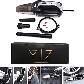 Small portable car vacuum cleaner for multi-use cleaning with tire inflator and multi-use blower