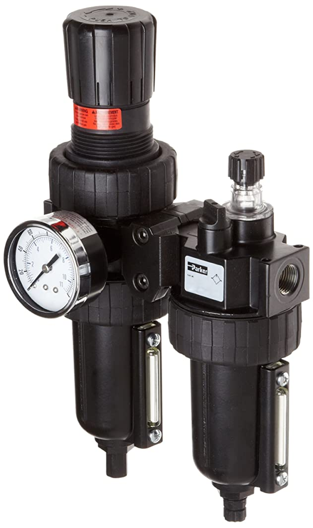 Parker 06H16A18A2BC Two-Unit Combo Compressed Air Filter/Regulator/Lubricator, 1/4
