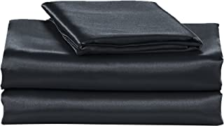 EliteHomeProducts EHP Super Soft and Silky Satin Sheet Set (Solid/Deep Pocket) (Queen, Black)