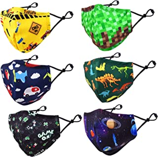6 Pack Children Adjustable Cloth Face Mask for Kids Girls...