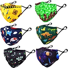 CIKIShield 6 Pack Children Adjustable Cloth Face Mask for Kids Girls Boys Washable Reusable Face Cover Winter Protection