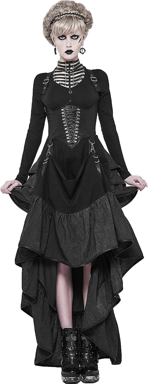 Punk Rave Women Black Gothic Stripe Steampunk Long Corset Two Wear Party Dress
