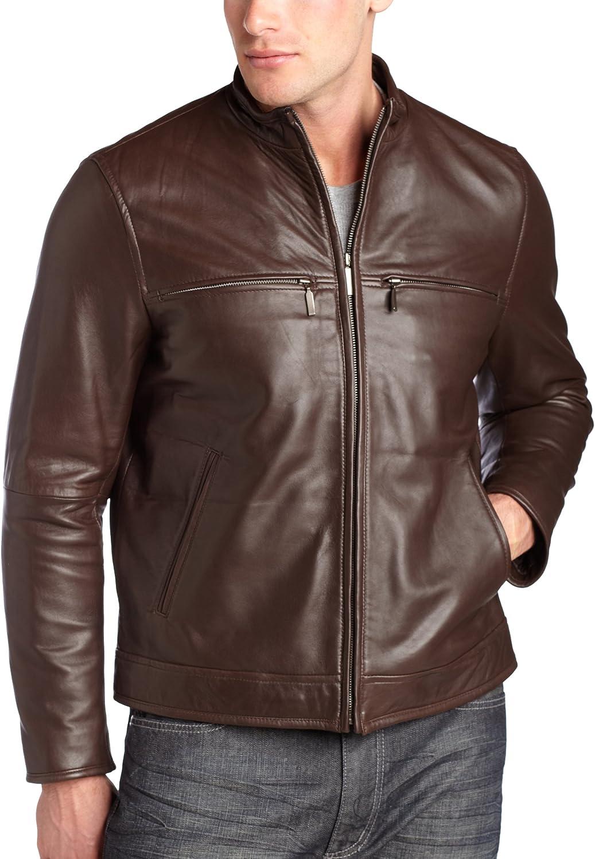 Perry Ellis Portfolio Men's Leather Moto Jacket