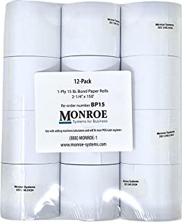 Monroe Systems for Business 15 Pound Bond Paper Rolls, Single Ply, 2 1/4