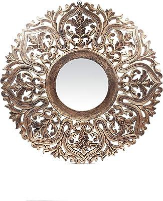 The Kraft International Decorative Wooden Wall Mirror/Decor for Living Room, Bedroom, Hallway, Office (Gold, 75 x 75 x 1.5 - cm)