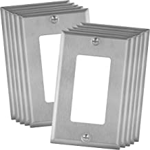 """ENERLITES Decorator Switch or Receptacle Outlet Metal Wall Plate, Stainless Steel Outlet Cover, Corrosion Resistant, 1-Gang 4.50"""" x 2.76"""", UL Listed, 7731-10PCS, 430 Stainless Steel, Silver (10 Pack)"""