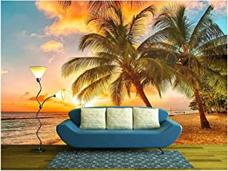 wall26 - Beautiful Sunset Over The Sea with a View at Palms on The White Beach on a Caribbean Island of Barbados - Removable Wall Mural | Self-Adhesive Large Wallpaper - 100x144 inches