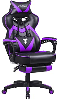 Massage Gaming Chair for Adults Purple, Ergonomic Computer Gaming Chair with Footrest, Big and Tall Video Gaming Chair,Reclining Gaming Desk Chair, Racing Style Office Chair, E-Sports Chair for Gamer