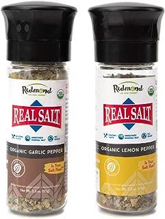 Redmond Real Sea Salt - Natural Unrefined Organic Gluten Free, Coarse Salt with Coarse Grinder (Lemon Pepper & Garlic Pepper)