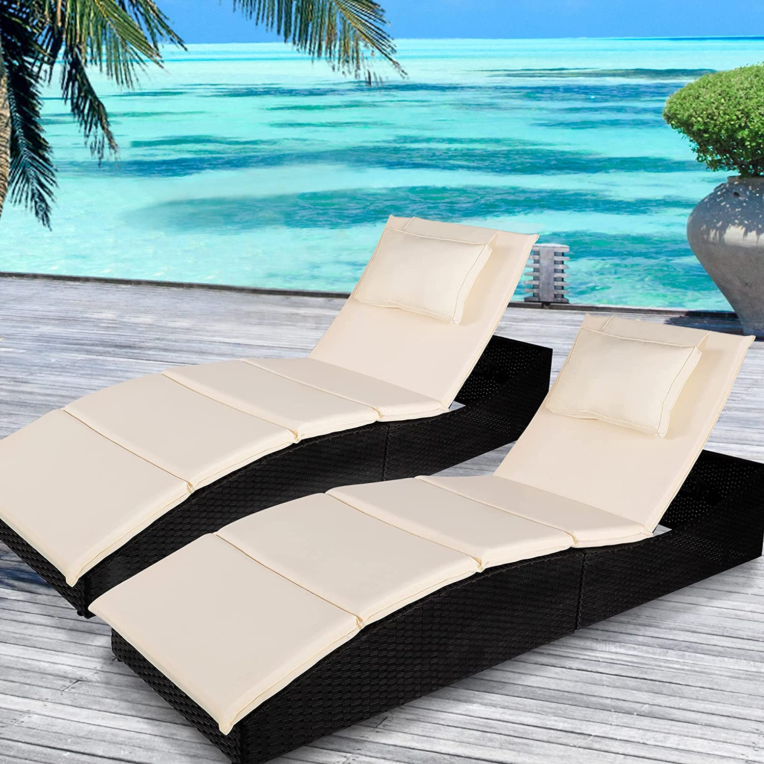 Spasm price KGOPK Folding Pool Lounge Chair Set of Adjustable Pat Outdoor Super special price 2