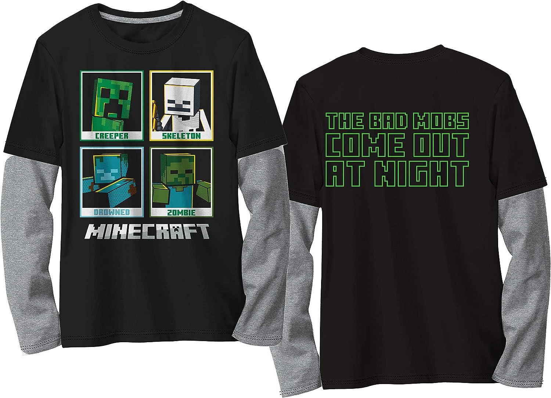 Minecraft Boys Long Sleeve Character Box Tee 4, Black/Grey