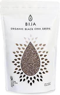BIJA Organic Black Chia Seeds, USDA Certified, NON-GMO, Vegan, Raw, Gluten-Free, Kosher, 1lbs/16oz Pouch