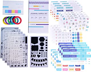 Perfect Planner Journal Supplies Kit - 32 Piece Set, Custom-Designed Supplies for Bullet Journals and Planners, Includes Stickers, Stencils, Washi Tapes and Sticky Notes, by Wonderful Washi