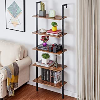 Bookshelf, 5 Tier Ladder Book Shelf, Bookcase, Bookshelves, Office Shelves, Book Shelves, Industrial Bookshelf, Shelves for Living Room, Rustic Wood Finish