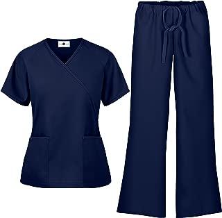 Women's Scrub Set – Includes Medical Uniform Mock Wrap Top and Pant (XS-3X, 7 Colors)