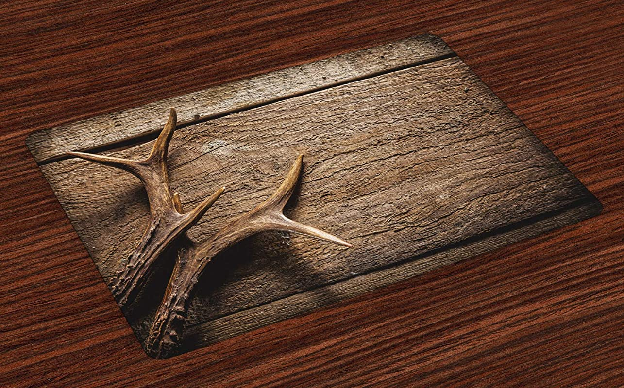 Ambesonne Antlers Place Mats Set Of 4 Deer Antlers On Wood Table Rustic Texture Surface Hunting Season Fall Gathering Art Washable Fabric Placemats For Dining Table Standard Size Umber