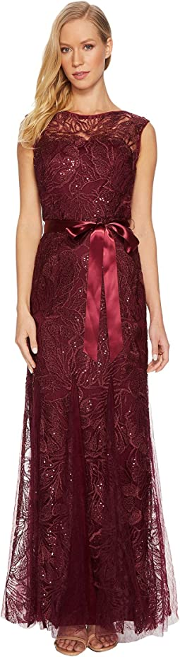 Adrianna Papell - Long Sequin and Embroidered Gown