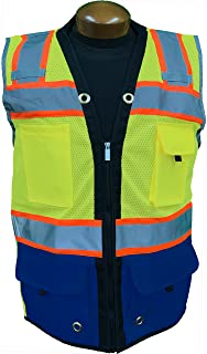 SHINE BRIGHT SV544RB   Premium Surveyor's High Visibility Safety Vest   2 Tone Lime/Royal Blue with Reflective Strips  ANSI CLASS 2  Soft and Breathable  Heavy Duty Zipper Front   Size XL