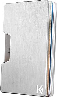 KARCAJ® Classic - Cartera Tarjetero Minimalista con Protección Antirrobo RFID y NFC. Tarjetero Metálico para Tarjetas de Crédito y Billetes para Hombre y Mujer (Silver Edition)