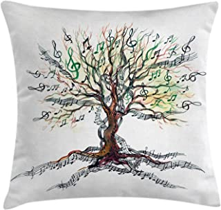 Ambesonne Music Throw Pillow Cushion Cover, Musical Tree Autumnal Clef Trunk Swirl Nature Illustration Leaves Creative Design, Decorative Square Accent Pillow Case, 18