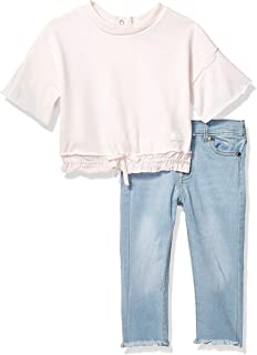 Baby Girls French Terry Fashion Top and Denim Jean Set