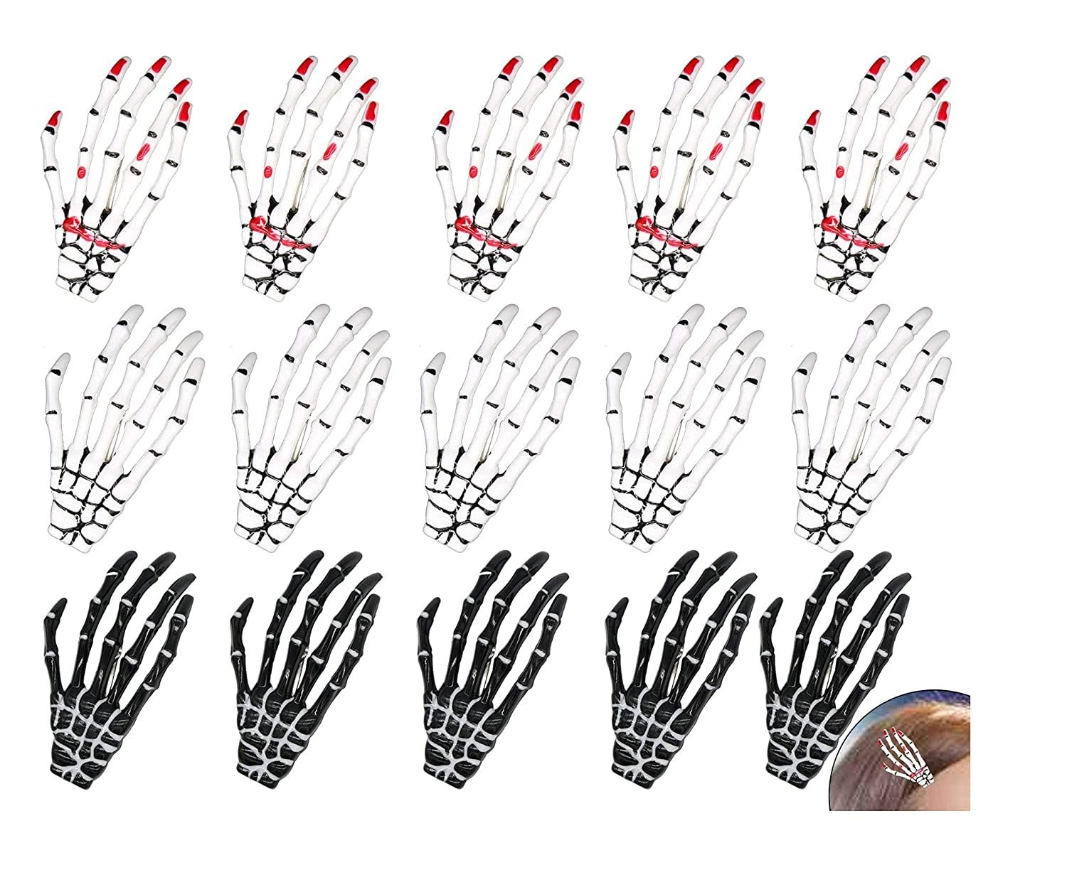 Ranking TOP4 15 Pieces Raleigh Mall Halloween Skeleton Hands Bone Hair Skull Claws H Clips