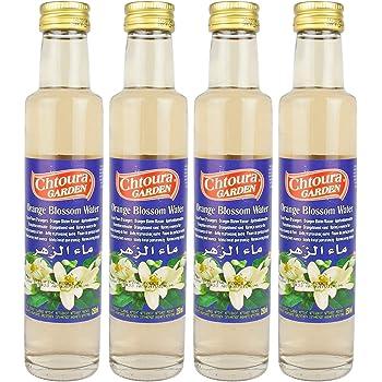 Chtoura Garden - Orientalisches Orangenblütenwasser ideal zum Backen und Kochen - Blütenwasser zur Aromatisierung von Süßspeisen, Backwaren und Getränken im 4er Set á 250 ml Glasflasche