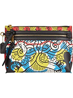 COACH Disney X Keith Haring Academy Pouch in Multicolor Mickey Print