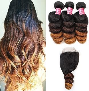 Allove Hair 8A Brazilian Ombre Loose Wave Hair Bundles with Closure (16 18 20+14) Virgin Remy Human Hair Weave Bundles with 4x4 Ombre Loose Wave Lace Closure 1b/4/27 Ombre Human Hair Extensions