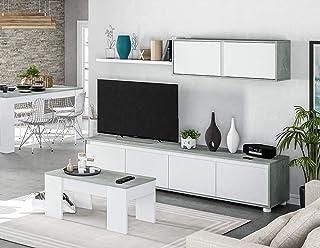 HABITMOBEL Pack Salon Completo: Mueble salón + Mesa de Centro + Mesa de Comedor Extensible Moderna Acabado en Color Gris ...