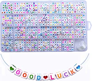 Amaney 1100 Pieces Letter Beads 6×6mm White Cube Acrylic with Colorful Alphabet A-Z Heart beads for Jewelry Making