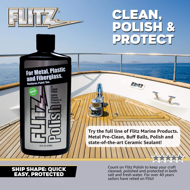 Flitz Multi-Purpose Polish and Cleaner Liquid for Metal, Plastic, Fiberglass, Aluminum, Jewelry, Sterling Silver: Great for Headlight Restoration + Rust Remover, 3.4 oz (Model: LQ 04535)