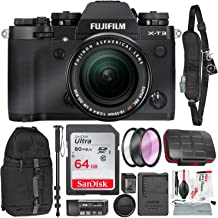 Fujifilm X-T3 4K Mirrorless Digital Camera (Black) & 18-55mm Lens Kit with 64GB & Tripod/Monopod Deluxe Accessory Bundle