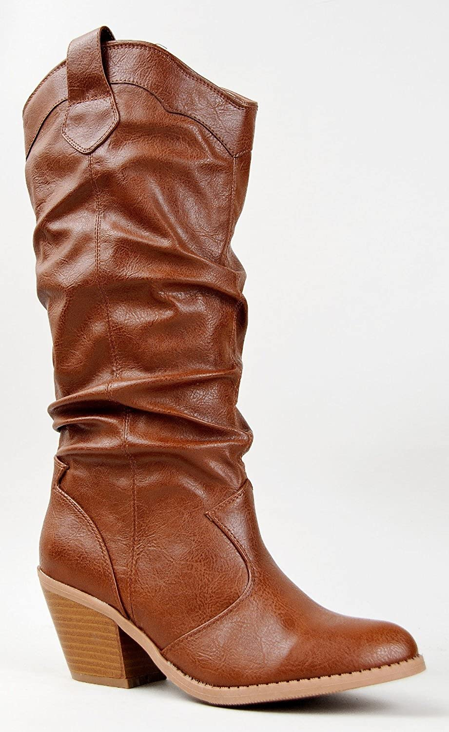 Qupid Muse-01 Western Cowboy Inspired Slouchy Mid Calf Knee High Stacked Heel
