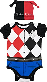 Suicide Squad Harley Quinn Baby Girls' Costume Bodysuit and Hat, Black and Red