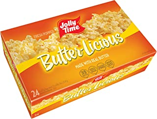 JOLLY TIME Butter-Licious | Original Buttery Microwave Popcorn Snack, Gluten Free with Real Buttered Corn Homestyle Flavor (Bulk 24-Count Box)