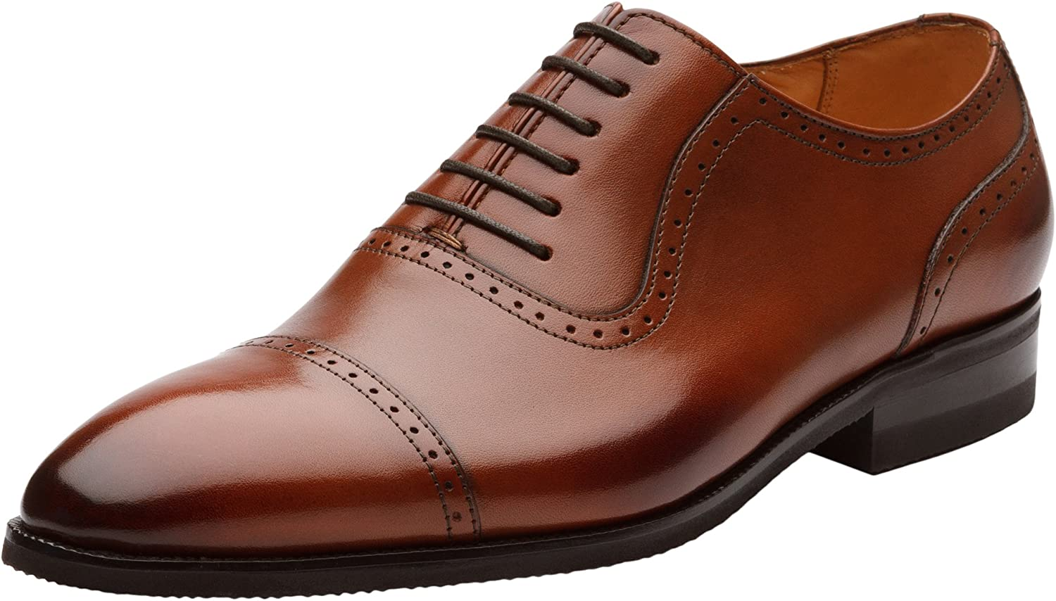 Dapper shoes Co. Handcrafted Men's Wingtip Brogue Genuine Leather Lined Perforated Oxfords shoes