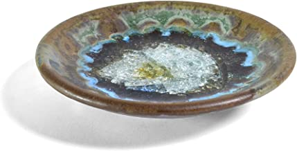 Dock 6 Pottery Small Wasabi/Trinket Dish with Fused Glass, Purple/Green