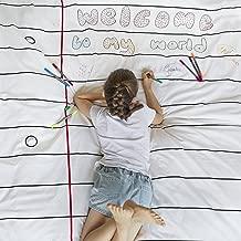 eatsleepdoodle Doodle Duvet, Color Your Own Duvet, Coloring Duvet with Washable Fabric Markers (Twin)