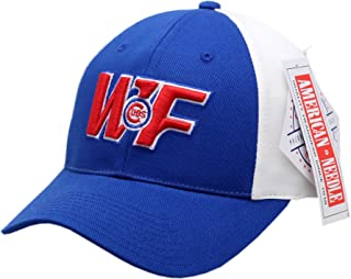 AMERICAN NEEDLE Chicago Cubs Wrigley Field Logo Block 2-Tone Buckle Back Hat-CC1723