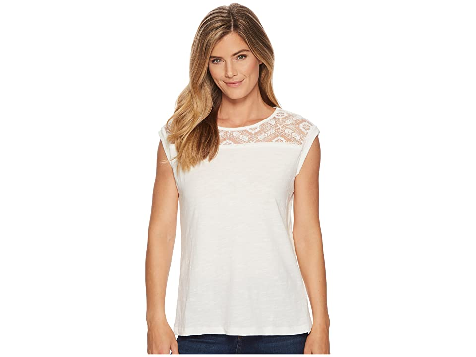 Tribal Cap Sleeve Top with Lace Neck Detail (Eggshell) Women